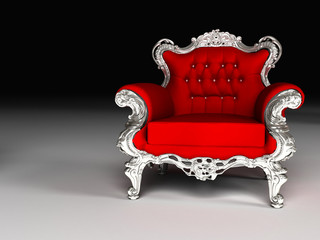 Luxury armchair with silver frame, furniture