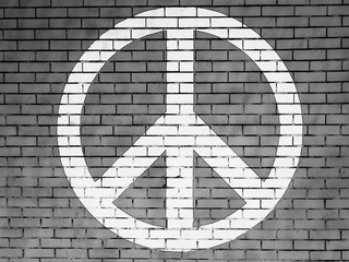 Peace symbol painted on