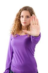 Stopp - nicht mit mir - Frau in Lila