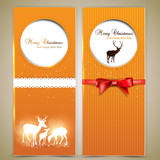 Collection of gift cards and invitations with deers. Vector back