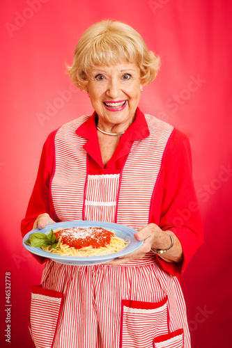 Grandmother Cooks Italian Spaghetti