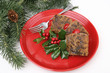 Christmas Fruitcake on Red Plate