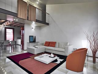soggiorno moderno con divano e poltrone di pelle