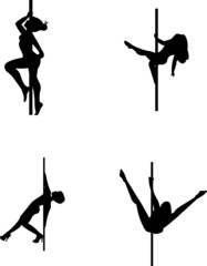 pole dancing in silhouette