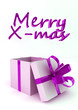 Merry x-mas card with open gift box