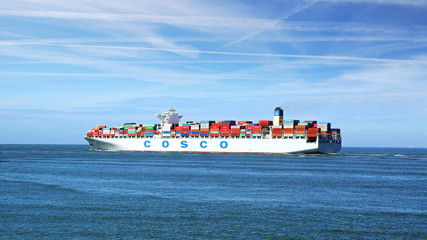 Container Ship COSCO with full of cargo. Rotterdam