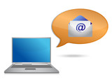 laptop and email message