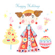 greeting card with little girl and Christmas tree