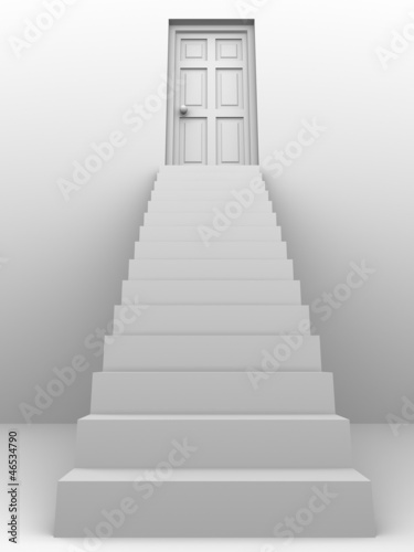 3d Staircase to closed door