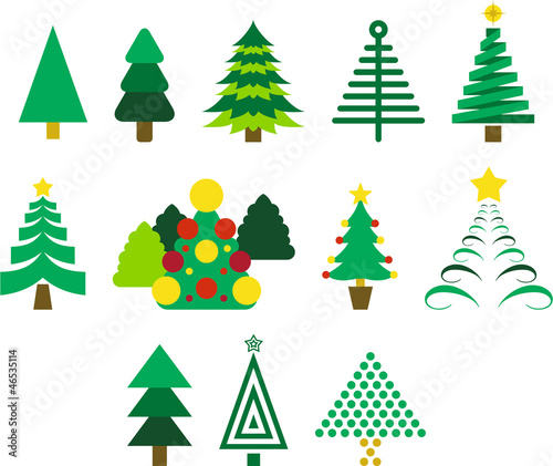 Set of fir trees