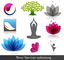 Spa, nature icon collection, beautiful bright colors
