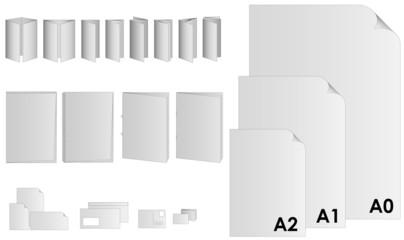Druckprodukte sortiert auf Ebenen -  Flyer, Broschüren, Plakate