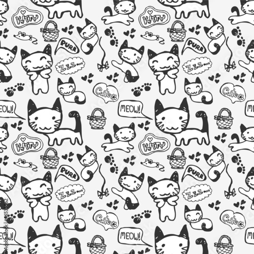 Hand drawn seamless pattern with cute kitty