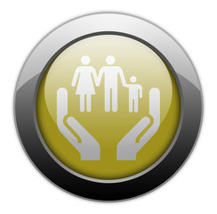 "Yellow Metallic Orb Button ""Social Services"""