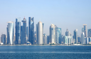 Beautiful broad view of Doha skyline, Qatar