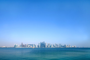 Beautiful Doha skyline through wide angle
