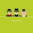 "Ladybeetle, Chimney Sweep & Pig ""Happy Birthday"""