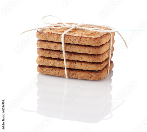 Stack of cookies tied with thread