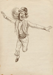 jumping and happy (- full sized hand drawing)