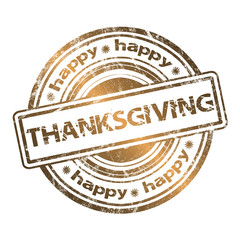 Happy Thanksgiving Grunge Rubber Stamp Gold Style