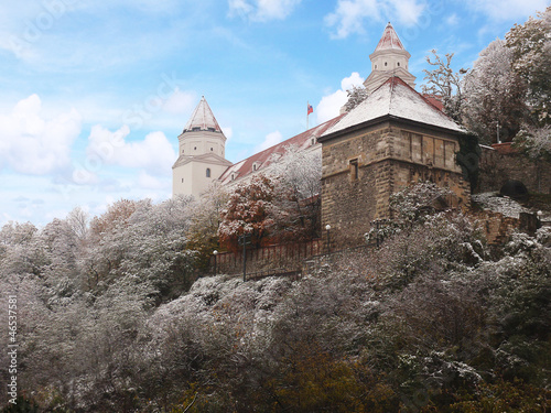winter castle on the hill with snow
