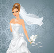Beautiful bride with a bouquet on blue background.
