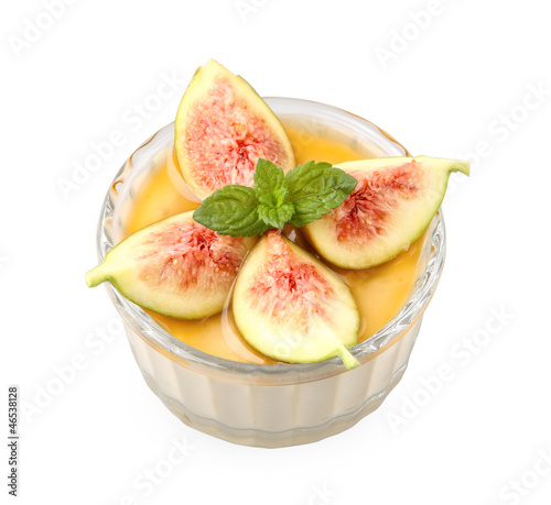 honey mousse with figs and marsala wine with clipping path