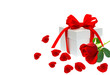 gift box with ribbon bow with red rose