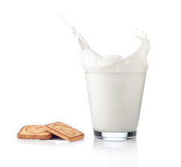 Splash of milk with various grain biscuits