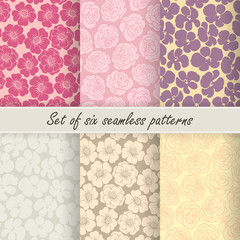 Set of six vector seamless flower patterns