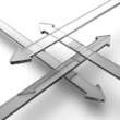 Transparente 3D Pfeile aus Glas in vier Richtungen