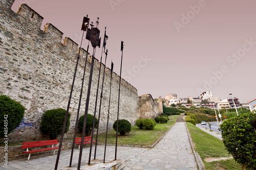 Old byzantine walls at Thessaloniki city in Greece
