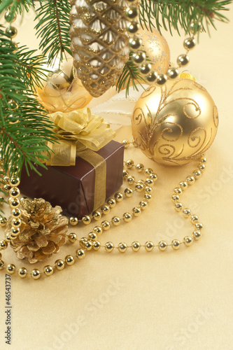 Christmas composition on golden satin