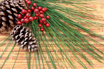 Pine cone and Xmas Berry Background