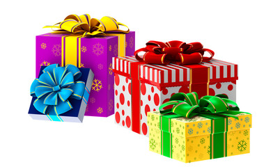 set of gifts with bows