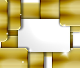blank white card - abstract golden 3d background
