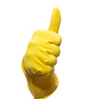 Thumb up in yellow rubber glove