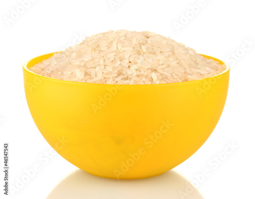 rice in a yellow plate , isolated on white
