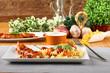Fusilli pasta with pork and tomato sauce