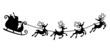 Silhouette illustration of Santa Claus driving the sleigh.