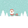 Xmas Santa Pulling Sleigh With Gift Retro