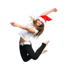 girl in a Santa hat jump