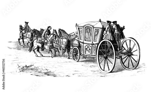 Ancient horse-drawn Coach - end 18th century