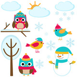 Fototapety Set of winter elements
