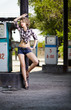 girl at gas station