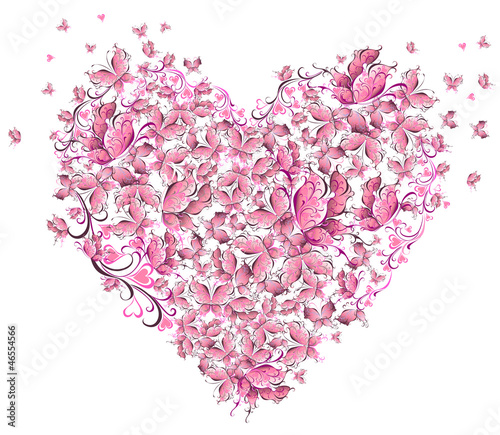 Floral Love Shape. Heart of butterflies. Valentine Day card.
