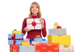 woman and gift boxes