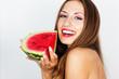 Beautiful girl with watermelon