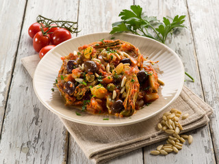 caponata with atichoke and pine nuts