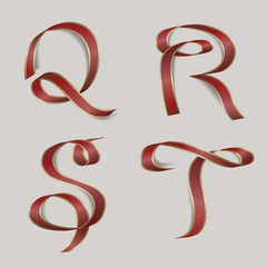 Vector ribbon alphabet - letters Q, R, S, T